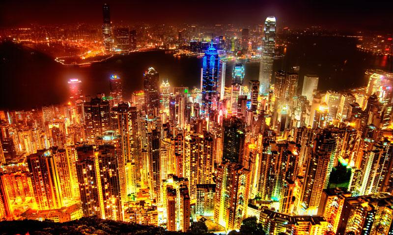 Hong Kong la nuit vue du Victoria Peak
