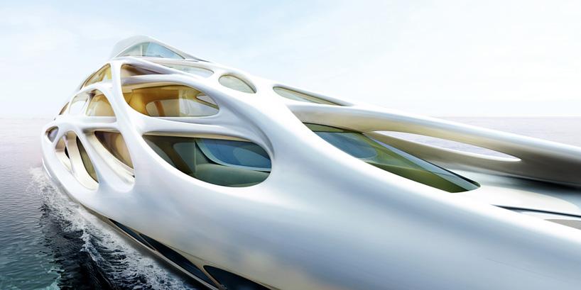 yacht moderne conçu par l'architecte zaha hadid