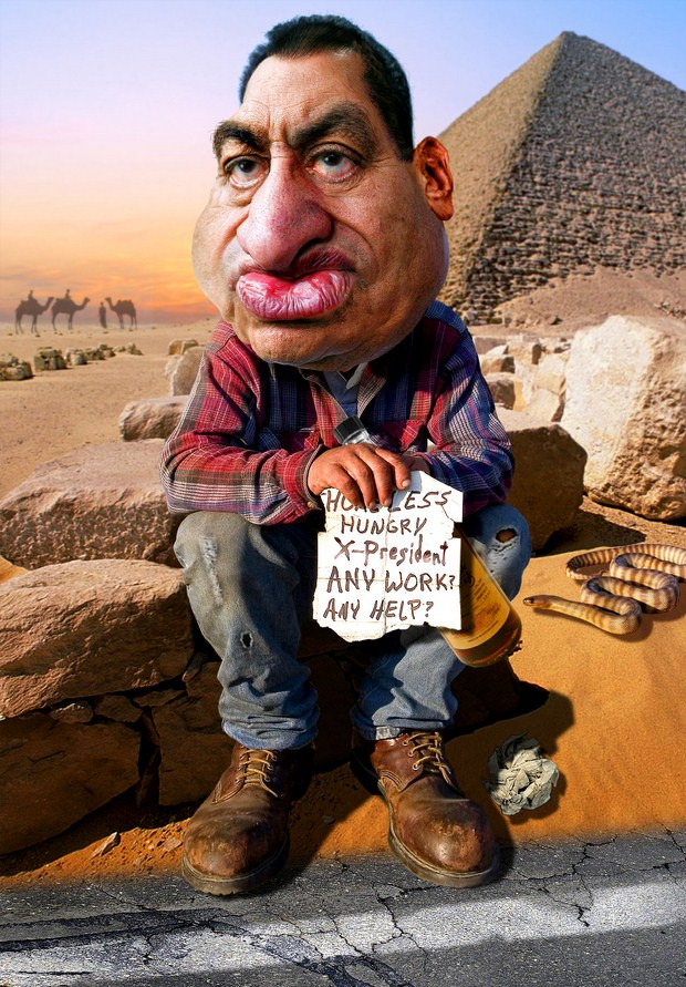 Hosni-Mubarak-Job-Hunting-caricature-helloodesigner