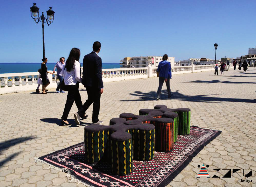 artisanat tunisien pouf azaru