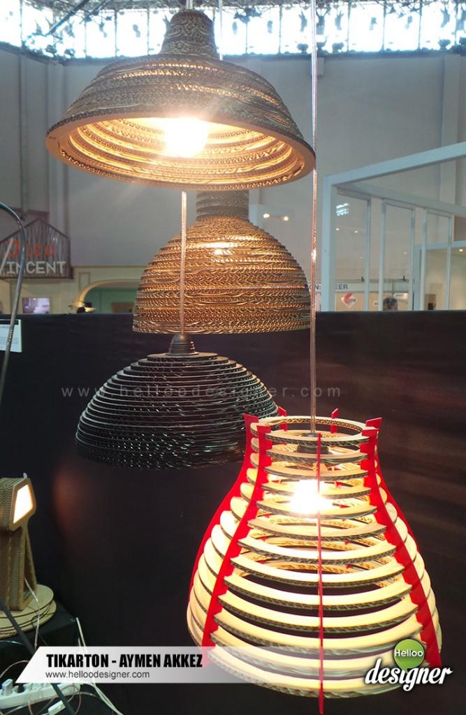 Espace-design-création-dardeco-salon-foire-decoration-createur-designers-aymen akkez-carton-luminaire