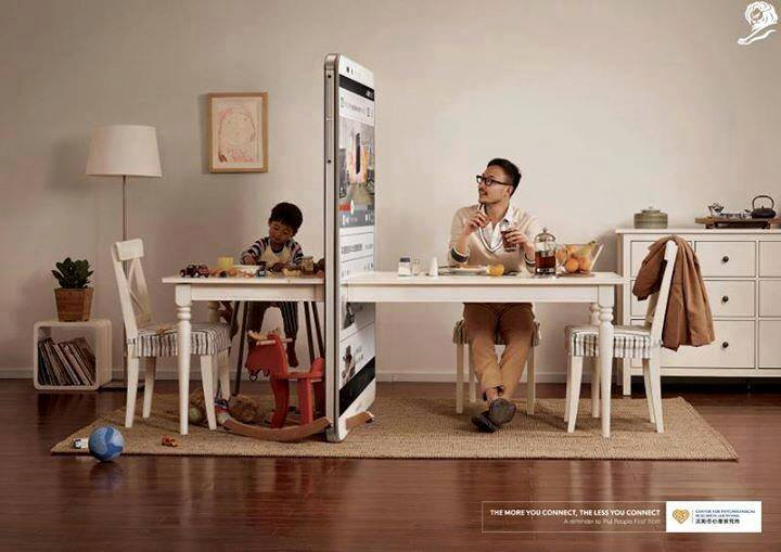 the more you connect the less you connect , ads, lions, advertising, ogilvy, publicité, affiche